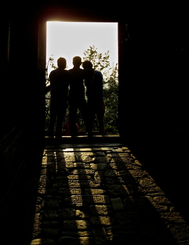 Changu - Doorway photo - three boys